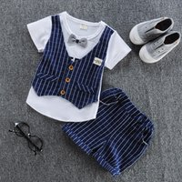 baby boy summer wedding outfit - 2017 New Spring Kids Clothes Boys Baby Clothing Sets Vest Shirt Pants Toddler Boys Clothes Set Wedding Outfits Birthday