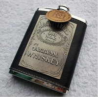 alcohol free drinks - France hip flask oz stainless steel PU leather Liquor Alcohol hip flasks jack danices jennesse whiskey Drink Alcohol flask