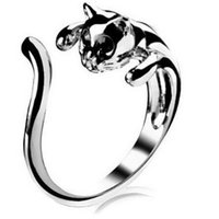 Wholesale Cat Ring Diamond Animal Fashion Open Rings Adjustable Cluster Finger Silver Ring Cuff With Eyes Rhinestone Eyes Women Gemstone Jewelry DHL