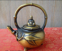bamboo teapot handle - Collectible Decorated Old Handwork Copper Carved bamboo handle Buddha teapot