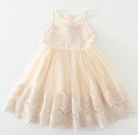 Wholesale Retail children lace Crochet dress Girls princess tulle tutu dress kids lace gauze vest dress Girls beige party dresses A7481
