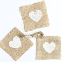 Bamboo bamboo napkin holder - Heart Patterned Burlap Coasters Napkin Rings Cutlery Holders with Twine Bow x4Inch Pack of AA7900