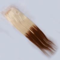 Brésilien 7A Beauté Beauté Homme Deux Tone Droite 4x4 Lace Clôture Trois Moyen Libre Pièces 6-22 Pouces De Sunny Grace Avec Baby Cheveux