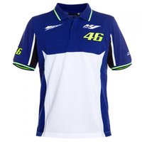 Wholesale 2017 MotoGP Valentino Rossi VR46 Dual Polo The Doctor T shirt Blue White EURO size S XL