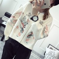 Wholesale Ham67 New Arrival Women Ethic Style Embroidery Flowers Long Sleeve Round Zipper Sweater Lady Elegant Short Cardigan Sweater