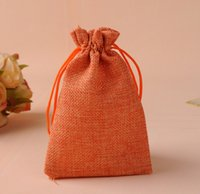 Antistatic beautiful wrapping paper - Beautiful high quality Cotton Linen Gift Pouch with Cotton Drawstring Wedding Gift Bags orange cm cm cm