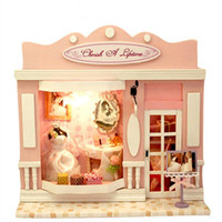 Wholesale 2017 New Handmade Wooden House Toys children s Christmas new year birthday gift kids DIY Mini Furnitures Model LED Dollhouse