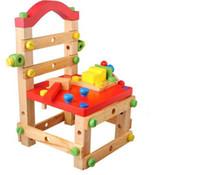 multifuncin silla de madera extrable bloques huecos creativos juguetes de madera beb color ensamble asamblea taburete juguetes y juegos para nios