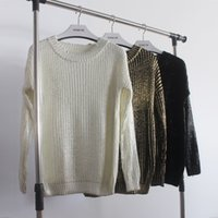 Regular fashion brand stamps - Fashion vintage stylish women brand new personality long sleeve gold silver bronzing loose metallic stamping knitted sweaters