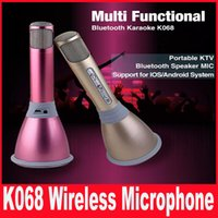Wholesale Newest K068 Bluetooth Wireless Microphone With Mic Speaker Condenser Mini Karaoke Player KTV Singing Record DHL
