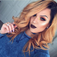 Cheap Glueless Ombre#1b 27 Lace Front wavy Human Hair Wigs peruvian Ombre Honey blonde Full Lace Human Hair Wigs For Women