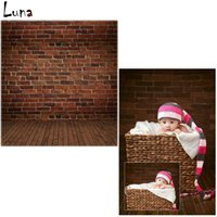 Wholesale 5x7ft Vinyl Photo Backdrops Brick Wall Photography Background Brown Wood Floor For Children photo studio