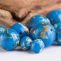 bead bracelt - 20pcs Blue Natural Imperial Stone Round Bead mm mm mm mm Pick Size For Women Bracelt DIY Making