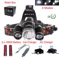 Wholesale Boruit x XM L T6R5 LED Lm Headlight Lampe Frontale Head Torch HeadLamp Lantern Ac Car EU US AU UK plug Charger V18650 Battery
