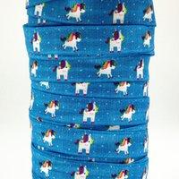 al por mayor rollos de cinta enemigo-Cinta al por mayor / OEM 5 / 8inch 16m m 161110001 diseño del unicornio impreso doblado sobre FOE elástico 50yds / roll envío libre