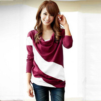 Wholesale New Pattern Bat Shirt Spelling Color Irregular Fashion Clothes Enlarge Code Easy Woman Long Sleeve T Pity