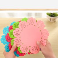 Wholesale Size M Silicone Insulation Pad Creative Hollow Rose Shape Tableware Mats Simple Circular Silicone Coasters colours
