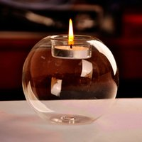 Wholesale 8 cm Glass Candle Holders for Home Decor Glass Globe Candle Holder for Wedding Decor