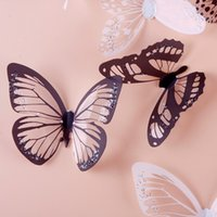 Wholesale 18pcs Set Wonderful Black amp White D Butterfly Sticker Art Design Decal Wall Sticker Decoration