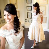 Wholesale vintage country wedding dresses lace off shoulder applique backless a line Wedding gowns tea length garden bridal dress