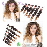Wholesale Jerry curly freetress hair for one head ombre brown synthetic hair extension curly crochet purple braiding Hair