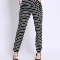 Wholesale Loose Pants For Women Wholesale - 2016 high quality fashion Lady's casual pants classic striped trousers loose beam leg harem pants for women daily wear