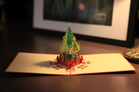 Wholesale 2016 D Christmas Tree Crad Handmade Custom Diy Invitations greeting cards christmas card laser gifts art paper craft
