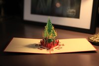 Wholesale 3d Chrismas tree card handmade custom diy invitations greeting cards christmas card laser gifts art paper craft