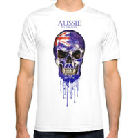 Crew Neck australia t shirt - Australia Skull flag New Fashion Man T Shirt Cotton O Neck Mens Short Sleeve Mens tshirt Male Tops Tees