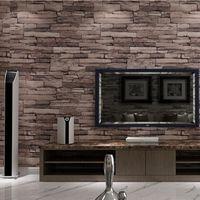 achat en gros de pierres d-Papier peint de brique de pierre en bois de PVC de gros-3D moderne pour des murs