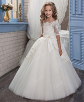 Wholesale 2017 New Lace Arabic Flower Girl Dresses for Weddings Tulle Baby Girl Communion Dresses Children Girl Pageant Gown