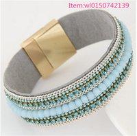 achat en gros de american girl bracelet de charme-Mode de haute qualité Cristal avec strass bracelet de charme American style femmes fille bracelet en cuir