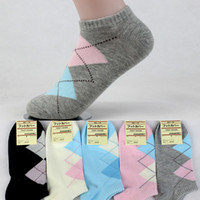 ankle fit - Hot Sale Women Girls Classic Double Rhombus Grain Summer Socks Ankle Low Cut Breathable Fitted Pure Cotton Sock
