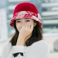 Wholesale In the new Han edition ms qiu dong the day tide pearl rabbit hair thickening basin hat Ms in winter