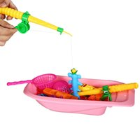 Wholesale Newly Set Funny Magnetic Fishing Toy Kids Bathing Time Fun Game Rod Model Net Fish With Bathtub Educational Toys