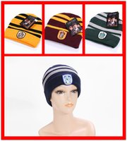 animal badge - XMAS Hats Gift Harry Potter Beanie Skull Caps Slytherin Hufflepuff Gryffindor Ravencla Knit Hats Cosplay Caps School Striped Badge
