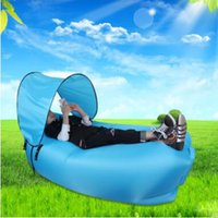 bbq canopy - Inflatable Lounger Waterproof Portable Sleep Lounge Couch with Mini Sun Canopy Fast Inflatable Air Sofa for Camping Beach BBQ Fishing G42