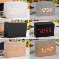 Wholesale Popular Modern sensor Wood Clock Dual led display Bamboo Clock digital alarm clock Led Clock Show time Voice Control