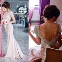 Wholesale Blush Pink Beading Long Bridesmaid Dresses Cap Sleeve Sexy Backless Mermaid Maid Of Honor Gowns Wedding Guest Formal Party Dress