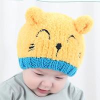 Wholesale New MZ2102 bear embroidery wool warm children hats Autumn winter Korean style baby wool cartoon pattern hat