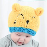 Wholesale New MZ2102 bear embroidery wool warm hat Autumn winter Korean style baby wool cartoon pattern hat