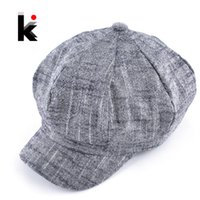 Wholesale Womens fashion octagonal hat newsboy cotton and linen mixing beret autumn and winter hats for women popular design casual cap