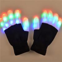 Wholesale LED Rave Gloves Mitts Flashing Finger Lighting Glove LED Colorful Colors Light Show Black and White