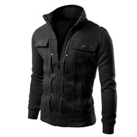 achat en gros de boutons sweatshirt gros-Vente en gros-Men's Plus Size Automne Hiver Hoodies Zipper Vestes Coat Mode Button Pocket Design Veste Slim Lapel Cardigan Sweatshirts