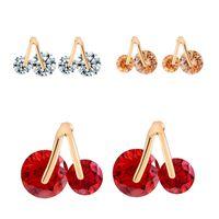 baby diamond studs - Sweet Baby Earrings Ear For Women Cute Cherry Stud Earring Fashionable AAA Cubic Zircon CZ Diamonds Girls Party Jewelry