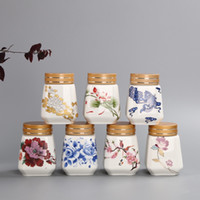 Wholesale Recommend colors AVailable Tea caddy celadon pot Sealed small tank China Storage Bottles Jars freehand sketching jar