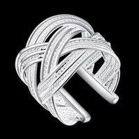Wholesale 2017 unsix Large mesh woven ring European and American silver geometric openings ring jewelry accessories R024