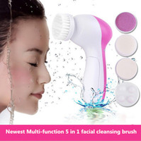 EU battery head massager - 5 in Multifunction Electric Face Facial Cleansing Brush Skin Care Massager Scrubber Cleansing Brush Spa Battery Operated Set