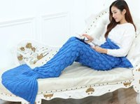 air bag movie - 10color CM Adult Mermaid Tail Blanket Soft Hand Crocheted Sofa Blanket Mermaid Tail Sleeping Bags air condition blanket drop shipping