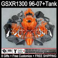 8gift Pour brillant orange SUZUKI Hayabusa GSXR1300 96 97 98 99 00 01 13MY61 GSXR 1300 GSX-R1300 GSX R1300 02 03 04 05 06 07 noir brillant Carénage
